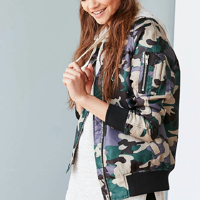 Silence & Noise Urban Outfitters Camo Bomber Jacket