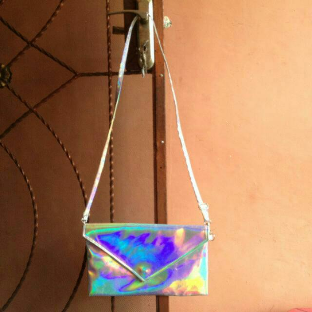 Slingbag Clutch Hologram Silver Holonatic