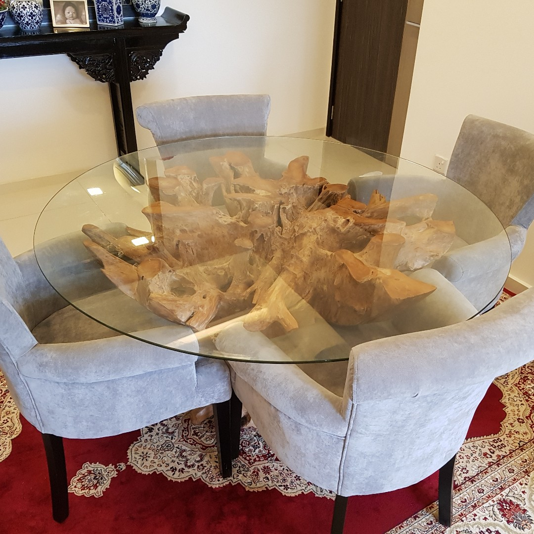 Fabulous Teak Root Dining Table With Glass Top Furniture Tables Download Free Architecture Designs Scobabritishbridgeorg