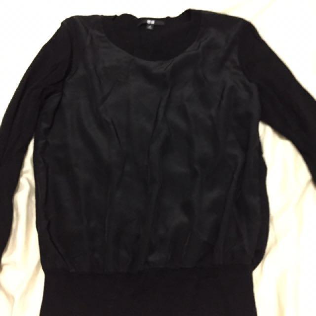 Uniqlo knitted black long sleeves Medium