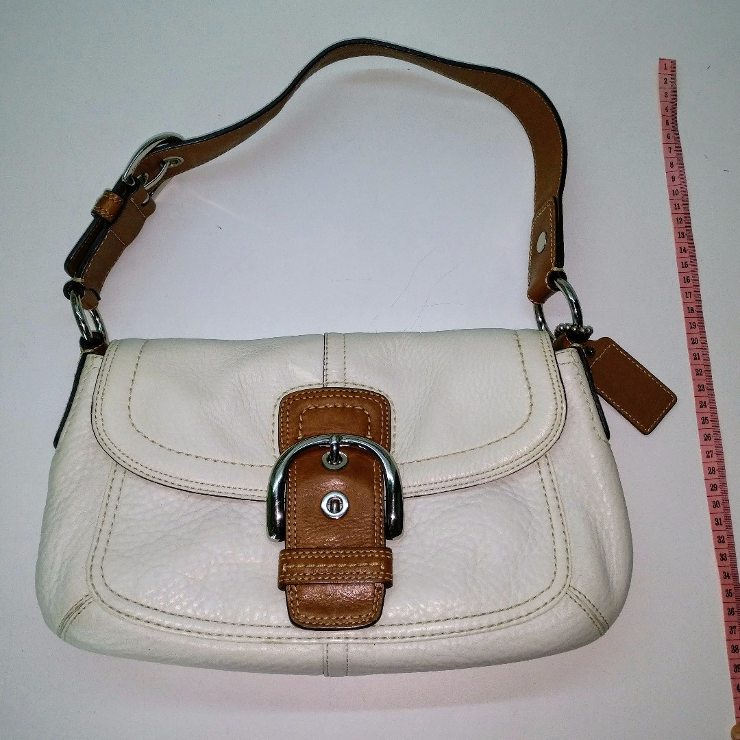 59e657e143c6 Used Coach Bag for sale (Genuine) - White with dark brown strap ...
