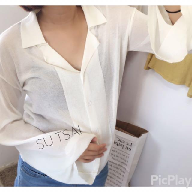 麻料v領顯瘦素面襯衫