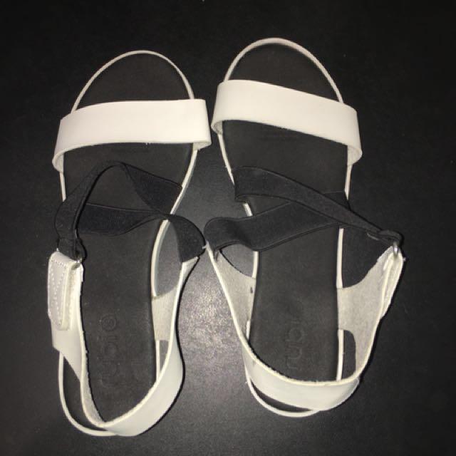 White & Black strap sandals