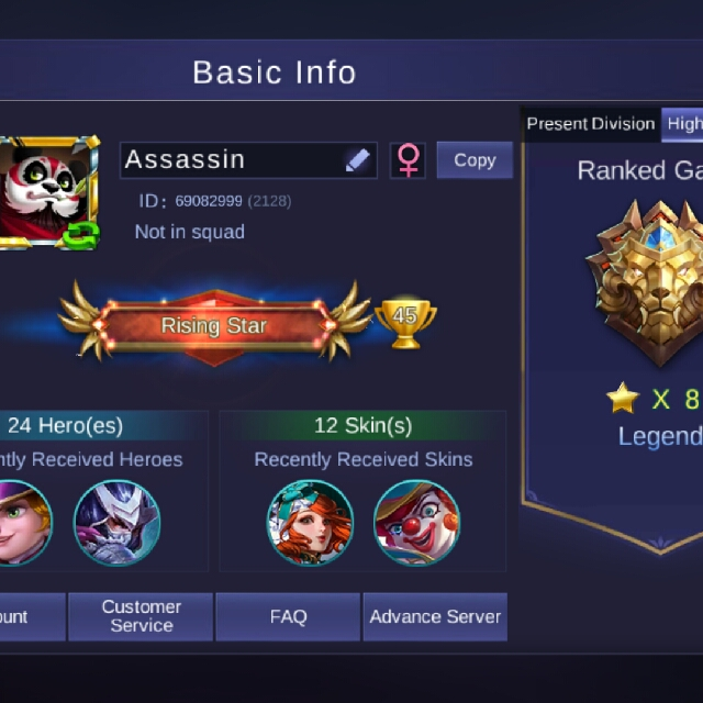 Mobile Legends Legends account, Toys & Games, Video Gaming