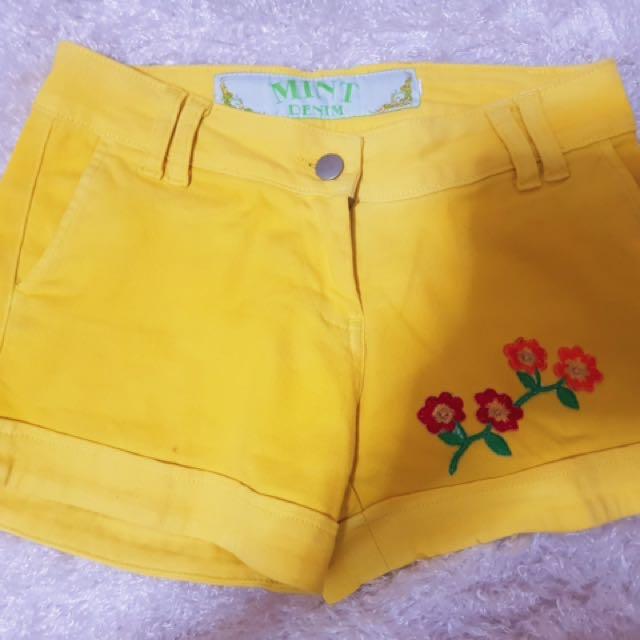 Yellow Denim embroidered shorts