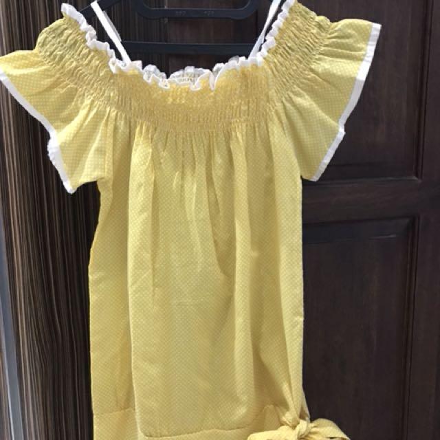 Yellow polkadot sabrina top