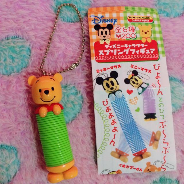 🔆特價中🔆Yujin 絕版Disney 維尼 彈簧造型吊飾 扭蛋