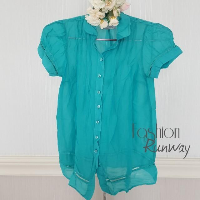 DISKON ZARA TRF Transparent Aqua Blue Shirt