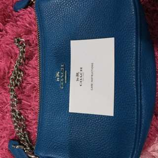 Coach 53077 Nolita 19 Leather Large Wristlet (Peacock Blue)