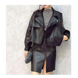 「新品推薦」歐美時尚百搭機車皮衣加拉鏈高腰裙