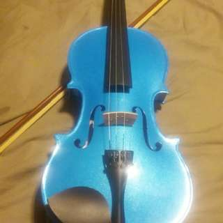 blue wooden violin