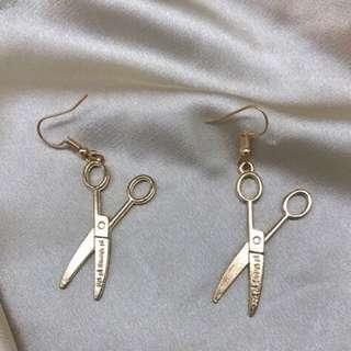 獨家原創設計日系超酷金色剪刀手愛德華哥特耳環極簡耳夾耳釘