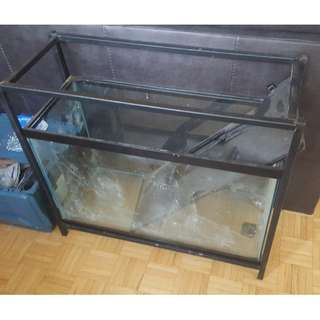 28 Gallon Fish Tank, glass, black framed, cast iron stand