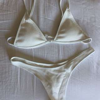 creme/white ribbed bikini set