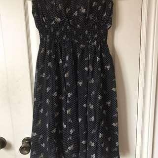 Black polka dot floral print dress