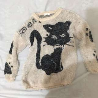 Cat print fuzzy sweater