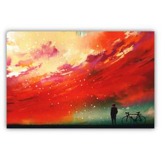 Man with a Bicycle Standing Against Red Clouds, Canvas Print Wall Art
