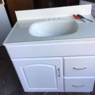 White on white cabinet and countertop