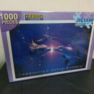 夜光 1000片 海豚 拼圖