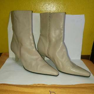 Enzo Angiolini Nude Leather High-Heeled Boots