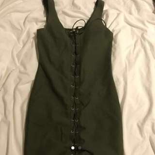 Khaki Lace Up Dress M