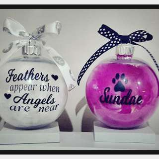 Personalised Christmas Feather Baubles