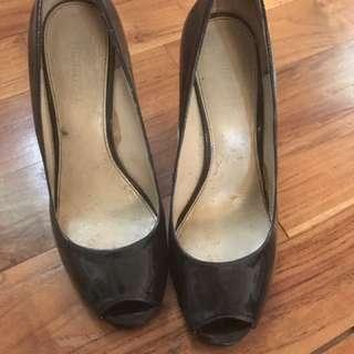 Nine West - Black Peep Toe Wedges - 7M (size 38)