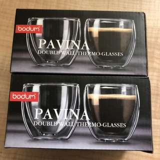 4 X Bodum 80ml Double Walled Glasses