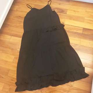 Cotton Ink - s - black dress with ruffles