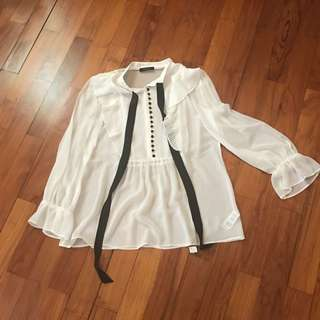 Marks and Spencer - Blouse with Bow - M