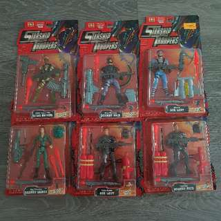 1997 (Vintage) 5 inch Galoob Starship Troopers action figures (set of 6)