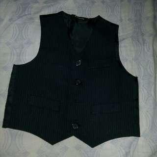 set: navy blue silk vest & slacks