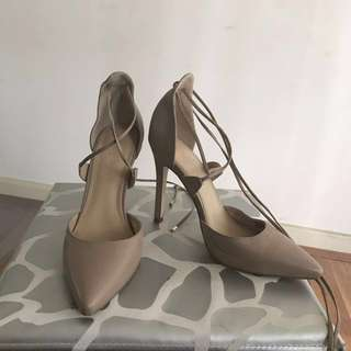 A&H Nude Lace Up Heels - sz 6