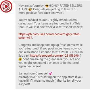 Highly Rated Seller! Thank you Carousell 😊