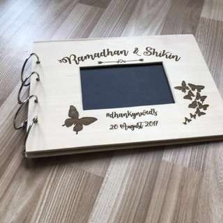 Laser Engraved Wooden Guestbook With Ring Binding And Photo Sized Cut Hole