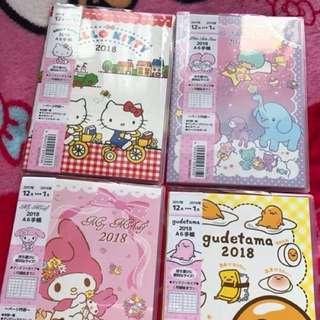 Hello Kitty, Little Twin Stars and My Melody 2018 Planner
