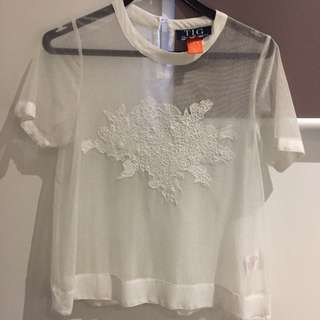 XS/ Size 6 Sheer Overlay Top