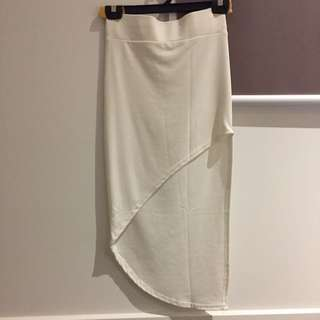 Free Sized White Assymetrical Skirt