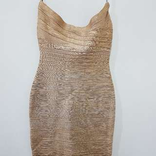 Like New Gold Bodycon Bandage Dress Sz XS-S