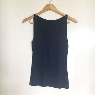 Navy Blue Cowl Neck Top