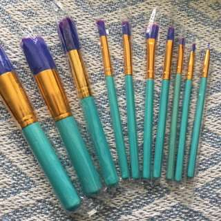 10 Piece Retro Blue Unicorn Makeup Brushes