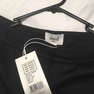 Seed Black High Waisted Flared Trousers
