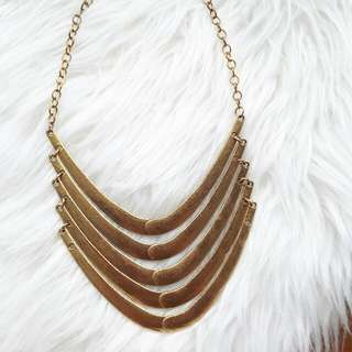 Rustic Gold Simple Statement Necklace