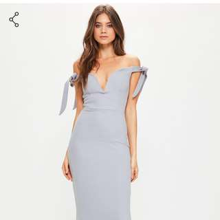 MISGUIDED grey sweetheart neck bardot tie maxi dress