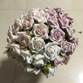 三色玫瑰絲花vintage色花球