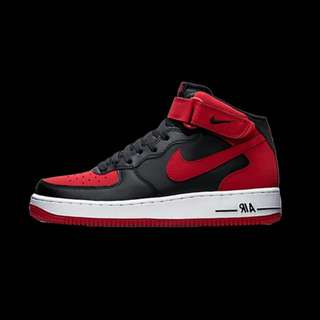 Nike Air Force 1 Mid 07 Bred 黑紅 高筒