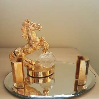Gold plated horse & crystal card holder