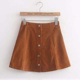 AA Suede Button Down Skirt
