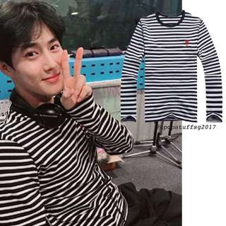 Po Exo Suho Strips with Heart Long Sleeve Shirt