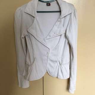 White BNY Cotton Blazer